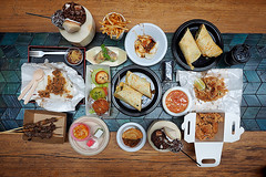 Food Spread, Hawker Lane: Sydney Food Blog Review (insatiablemunch) Tags: feast asian spread coconut burger chinese sydney meat thai noodles dumplings malaysian streetfood hawker chatswood laksa skewers softserve ramenburger