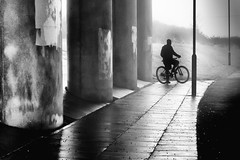 Biker Silhouette Maghull Liverpool. (James- Burke) Tags: bikes bw candidphotography columns cycles england fuji maghull monochrome people silhouette street streetphotography