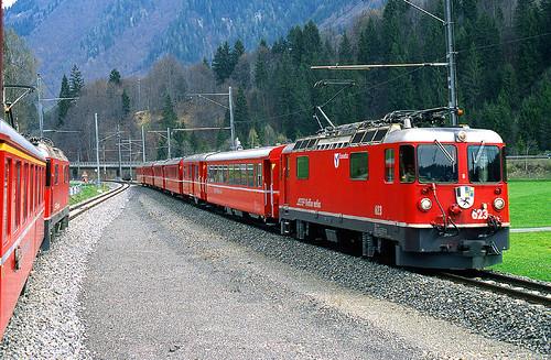 R12695.  Ge4'4 II at Prättigau on the metre gauge Rhätischebahn in Switzerland.