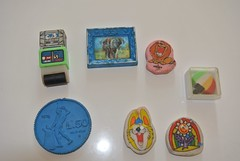 Vintage Erasers (jadedoz) Tags: vintage erasers rubbers roller elephant lion coin umbrella 80s 1980s