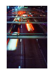 Brooklyn Bridge (James Eleftherion) Tags: leica m3 homedeveloped streetphotography 50mm c41 tetenal kodak cinefilm iso800 nyc night midnight shapes lightandshade epson v600 manhattan film analog filmisnotdead geometry blacks shadows witchinghour lights lines jupiter3 cars brooklyn traffic dumbo