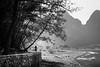 The man with conical hat. (Pierre Bodilis) Tags: blackandwhite china lijiangriver river xingping guilinshi guangxizhuangzuzizhiqu cn