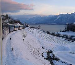 RD394.  On the MOB approaching Montreux. (Ron Fisher) Tags: montreuxoberlandbernois mob snow winter switzerland suisse schmalspurbahn metregauge narrowgauge schweiz voieetroite transport publictransport rail railway ch