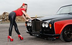 Holly FT   039 (Fast an' Bulbous) Tags: rollsroyce silvershadow drag race car fast speed power turbo british classic vehicle automobile outdoor people girl woman hot hotty sexy chick babe model pinup long brunette hair high heels stilettos shoes red tight black leather pvc jeans leggings