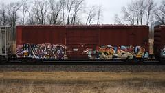 Knistto/Trav (quiet-silence) Tags: graffiti graff freight fr8 train railroad railcar art knistt knistto gtl rxr zee trav msk boxcar bayl bayl90276