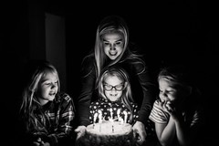 You are loved. (aamith) Tags: 35mm birthday candles firelight kids family bw bnw monochrome