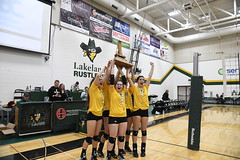 Golden Girls (Lakeland College) Tags: acacwvb2017 lakelandcollege lakelandcollegerustlers rustlersathletics rustlers womens volleyball gold medal acac champions