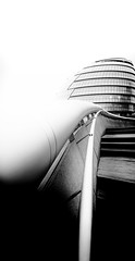 Cityhall London by Simon & His Camera (Simon & His Camera) Tags: city cityhall metal building window bw blackandwhite curve architecture london urban contrast composition dome iconic lines monochrome outdoor office rings simonandhiscamera skyline white