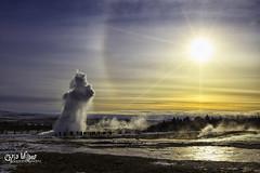 Winter Geysir (wilbias) Tags: sky winter water sun dog steam solar iceland sundog halo eruption strokkur geyser geysir geothermal