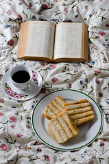 (sarka_olehlova) Tags: breakfast bed coffee bedding flowers floral ornamental green pink white cottton drink book relax reading vintage retro romantic plate china porcelain cup old antique open toast toasts food