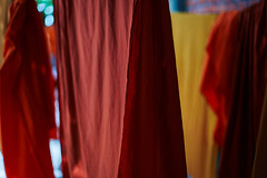 Kesa (monk clothes) cloth, Battambang, Cambodia (Alex_Saurel) Tags: detail asia culture portray orientation tradition photoreport plantaille religion posing buddhist day reportage travel portrait portraiture traditional bouddhisme photospecs imagetype vertical fullframe cambodge photojournalism archicategory scans pose pleinformat halfbody buddhism drape time photoreportage stockcategories sony50mmf14sal50f14