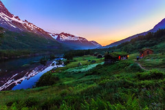 Innerdalen (PixPep) Tags: nightphotography sky mountains norway norge nightsky midnightsun cottages innerdalen canoneos6d pixpep