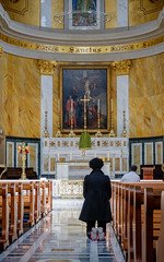 Praying (Rupert Brun) Tags: england london church saint kneel fuji unitedkingdom interior prayer pray praying patrick gb stpatrick pew kneeling pews sanctus romancatholic x30 saintpatrick