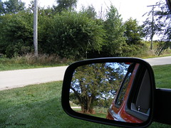 "No Looking Back... (""Just an ol' nature boy takin' a picture"") Tags: railroad trees tree nature grass outside mirror ic illinois image head central rail joe line trail finepix fujifilm polo s700 trailhead stengel woosung"