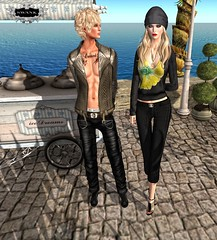 Sabrymoon and Spice wearing *HH* Dot-be creations for Swank (sabrymoon) Tags: top event secondlife swank underpants capris dotbe hawkershouse caprispants gabriellatop corinapants