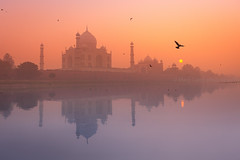 Sunset. Agra, India (Marji Lang Photography) Tags: travel light sunset sky india reflection bird love tourism monument water colors beautiful beauty misty composition river landscape photography fly flying colorful couleurs pastel indian flight decoration foggy documentary atmosphere taj tajmahal agra landmark visit mysterious traveling paysage touristic ambiance yamunariver uttarpradesh worldfamous travelphotography travelpictures yamuna northindian northernindia indiatourism poudr incredibleindia indiansubcontinent lovemonument worldbeauty indianview yamunatajmahal canon5dmii marjilang mistytaj tajbeauty tajmahalback