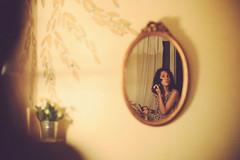 Let's talk about Photography (Sator Arepo) Tags: leica plant france reflection mystery vintage rouge 50mm hotel mirror bokeh room makeup rangefinder montpellier f1 brush pot noctilux blusher m9 feminity