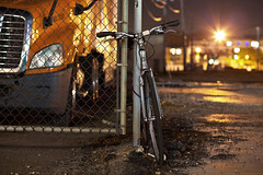 307/365 (local paparazzi (isthmusportrait.com)) Tags: longexposure orange bike bicycle night speed standing fence eos prime evening iso200 pod lowlight aperture colorful downtown raw glare dof slow bright vibrant tires sleepy tired transportation shutter flare resting madisonwi ef stationary kickstand ghosting sharpness 2015 rested canonraw cr2 isthmus 365project 100mmf2usm danecountywisconsin photoshopelements7 canon5dmarkii localpaparazzi redskyrocketman lopaps isthmusportrait