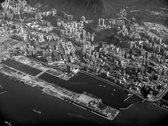 Kai Tak, Hong Kong (Mark Obusan) Tags: cruise blackandwhite bw hk hongkong airport flight over aerial passenger 13 31 runway overhead hkg bnw kaitak cruiseterminal kowloonbay vhhh rwy13 rwy31 rwy1331