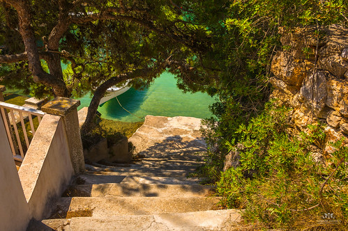 Road to the water in Cala Figuera, Mallorca (Spain)