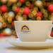 Coffe with Christmas bokeh