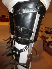 "Closeup of Triple Strapped Thigh ""Bucket"" (KAFOmaker) Tags: brace braces braced bracing afo kafo leather metal orthopedic caliper calipers orthese orthotic orthosis orthoses orthosen fetish bound bondage restraint restraints restrain restraining"