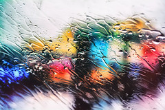 Steamy windscreen (markfly1) Tags: primary colours looking outside different point view red blue green yellow back rain pouring down city lights shallow focus depth field driving abstract