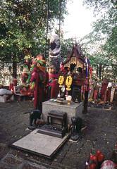 Chao Mae Tuptim shrine, Bangkok (SteveInLeighton's Photos) Tags: kodachrome transparency thailand 1999 january bangkok shrine phallus