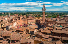 Rooftop walk (szenasia) Tags: sky city travel europe italy tower architecture roof summer building view monument square panorama countryside italia old town medieval toscana tuscany siena historic watchtower piazza del campo torre mangia cittá