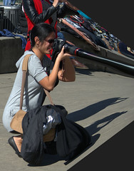 Telephoto Lens (swong95765) Tags: lens stretch camera woman photographer warped cute female lady humor