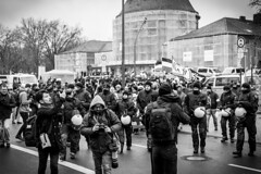 (GESODEMIETER) Tags: black blackandwhite bw white street streets people demonstration police march germany riots political nazi photographer photojournalism journalism