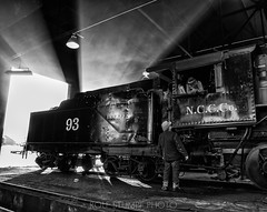 Sunrise at Ely (rolfstumpf) Tags: usa nevada ely steam locomotive godlight sunrise steampunk blackandwhite shed workplace history museum railway railroad trains winter snow