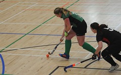 Brenda taking the ball around her indoor opponent during Greenfields Qualification to the Leinster Indoor Semi Final (Greenfields Hockey Club) Tags: hockey connachthockey greenfieldshockeyclub indoorhockey leinster railwayunionhockey pembroke irishhockey greenfields greenfieldshockey