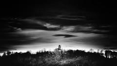 The church on the top (Tihomir Pavlović) Tags: church outdoor orthodox bw blackwhite landscape 3000v120f clouds sky tree