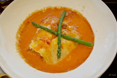 Sea Dance Lasagna (Pat Durkin OC) Tags: food lunch lasagna seafood crab scallops shrimps halibut ricotta mozzarella asparagus