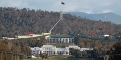 Parliament House Canberra, Australia (publicdomainphotography) Tags: act australia australian canberra capital city destination famous flag garden government holiday house parliament sky tourists travel vacation visitors mountain white building