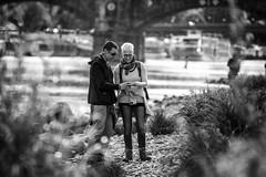 by the riverside (o_teuerle) Tags: street bw dresden blackwhite couple riverside bokeh outdoor paar monochrom ufer elbe schärfentiefe