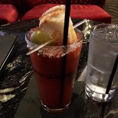 This call a Bloody Monday. It's a Bloody Mary with a grill cheese sandwich and a pickle.
