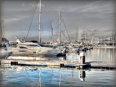 Marina holding.... (ocean rain) Tags: autumn sky clouds nikon pointshoot relections selectivecolour hdrtonemapping hartlepoolmarina