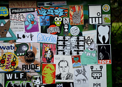stickers (wojofoto) Tags: streetart amsterdam sticker stickerart stickers popcorn vin earworm wojo flevopark nol amsterdamsebrug wolfgangjosten a1one wojofoto bunnybrigade pryx