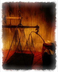 Weighing the Darkness (Steve Taylor (Photography)) Tags: wood old uk greatbritain shadow red england orange white black london art metal museum digital chains antique border barrel machine cargo warehouse scales gb balance sack weighing unitedkindom