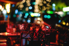 colorful evenings (mkniebes) Tags: city urban dark lights evening chair dof bokeh bochum bokehlicious fujinonxf56mm