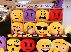 Emoticons come to the mall (Bennilover) Tags: california red yellow mall funny mood purple expressions pillows emoticons expressive missionviejo moods emoji