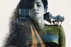 Journey (Estefania Andr) Tags: road viaje trees portrait nature photoshop self landscape nikon exposure carretera retrato nowhere steps autoretrato footprints double journey land rumbo pisadas huellas d3200 cs5