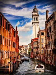 Venice Canal and Leaning Campanile (Barry O Carroll Photography) Tags: canal boat riodelgreci campanile leaning water venice venezia veneto italy italia cityscape city urbanlandscape travel buildings architecture belltower