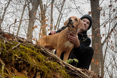 6/365 2017 Edition- Winter Exploring with Ruger (Angela D Beck) Tags: outside man ruger forest woods nature portrait nikon d750 day6 6365 project 365 project365 2017 hiking riverbank upshot hound coonhound edition 3652017 day 6jan17