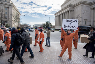 Protesters Hold an Anti-Tear-Gas Demonstration Outside the U.S. Department of Justice