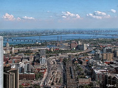 Above (Jean S..) Tags: montréal city urban bridge buildings river water sky blue outdoor day road clouds white
