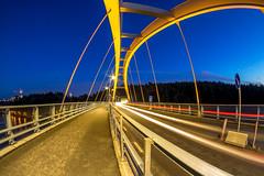 Lines & Lights (Jens Haggren) Tags: olympus em1 samyang75mm lines lights bridge colours trails road sky trees svindersviksbron nacka sweden jenshaggren