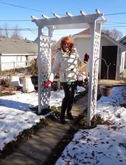 In Winter Plumage (Laurette Victoria) Tags: winter coat leggings auburn boots laurette wisconsin woman